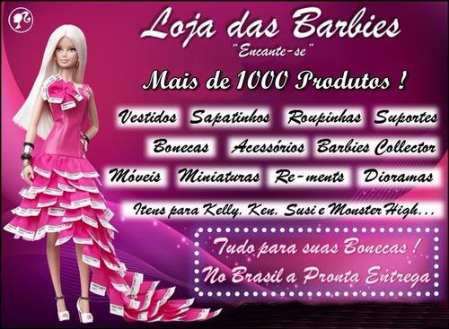 sapatinho luxo p/ boneca barbie * sapato tamanco pullip azul