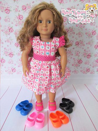 sapatinho mary jane p/ bonecas baby alive, our generation ag