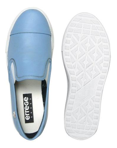 sapatênis feminino em couro legitimo azul claro
