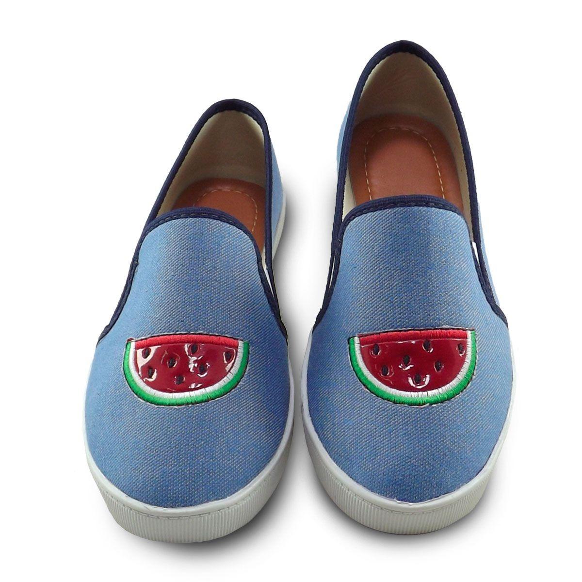 d58a49f87b7 Sapatênis Feminino Tênis Slip-on Sapato Sem Cadarço - R  27