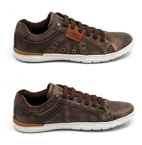 sapatênis ferracini couro west chocolate 7147-448e