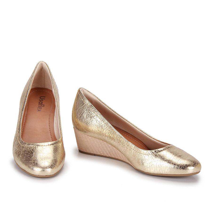 ba68747e1 Sapato Anabela Conforto Usaflex - Dourado - R$ 99,99 em Mercado Livre