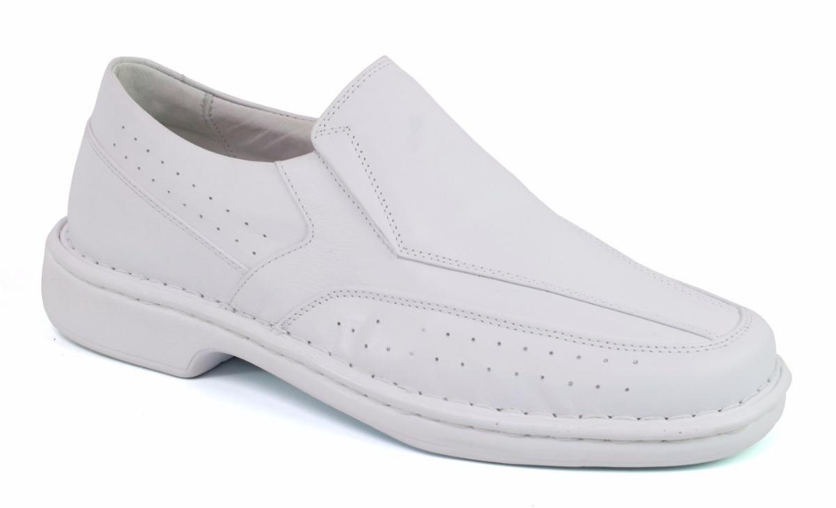 13613ca80d sapato anti estresse couro branco masculino para marinheiros. Carregando  zoom.
