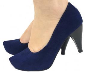 21279a57c2 Scarpin Meia Pata Azul Marinho Feminino - Sapatos no Mercado Livre ...