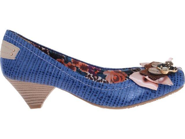 190118030a Sapato Azul Salto Baixo Confortável Via Marte - R  55