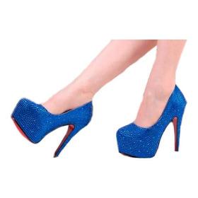 Sapato Azul Social Noivas Debutantes Formandas Festa