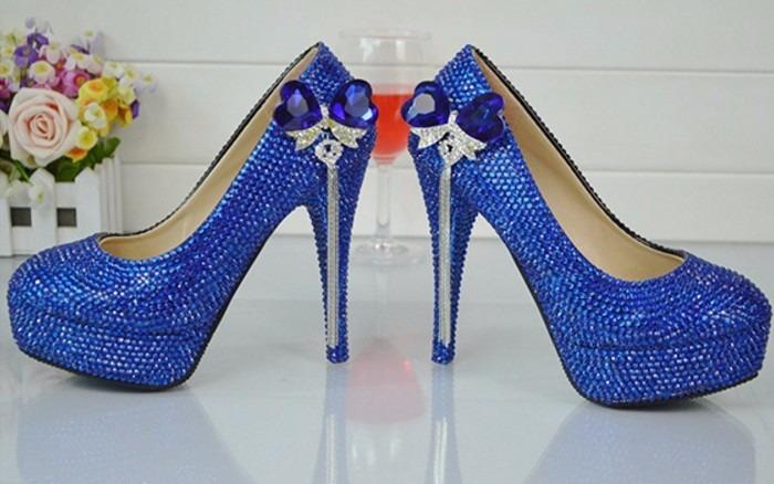cc1f61e110 Sapato Azul Strass Cristal Festas Balada Noiva Salto 11 Cm - R  495 ...