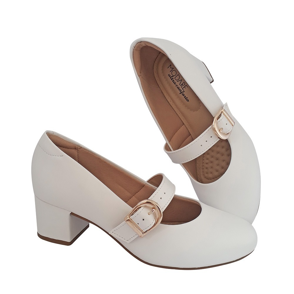 5ffa1258e1 sapato boneca branco enfermagem noiva salto baixo comfort. Carregando zoom.