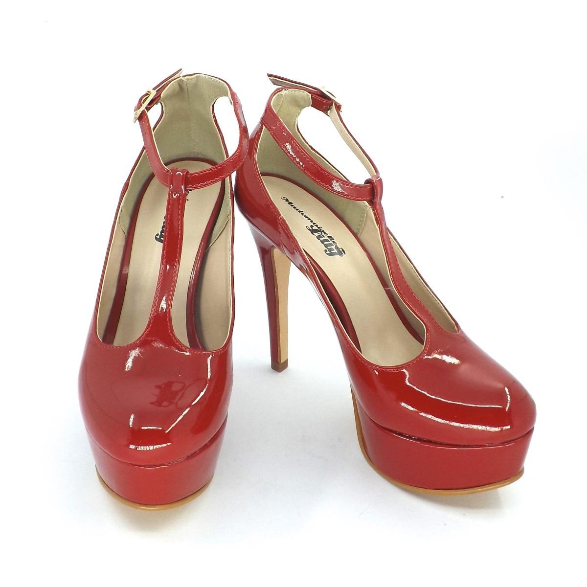 4a09435dba sapato boneca salto alto fino - vermelho. Carregando zoom.
