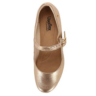 ea95e15b8 Sapato Boneca Salto Conforto Feminino Usaflex - Dourado(a) - R$ 194 ...