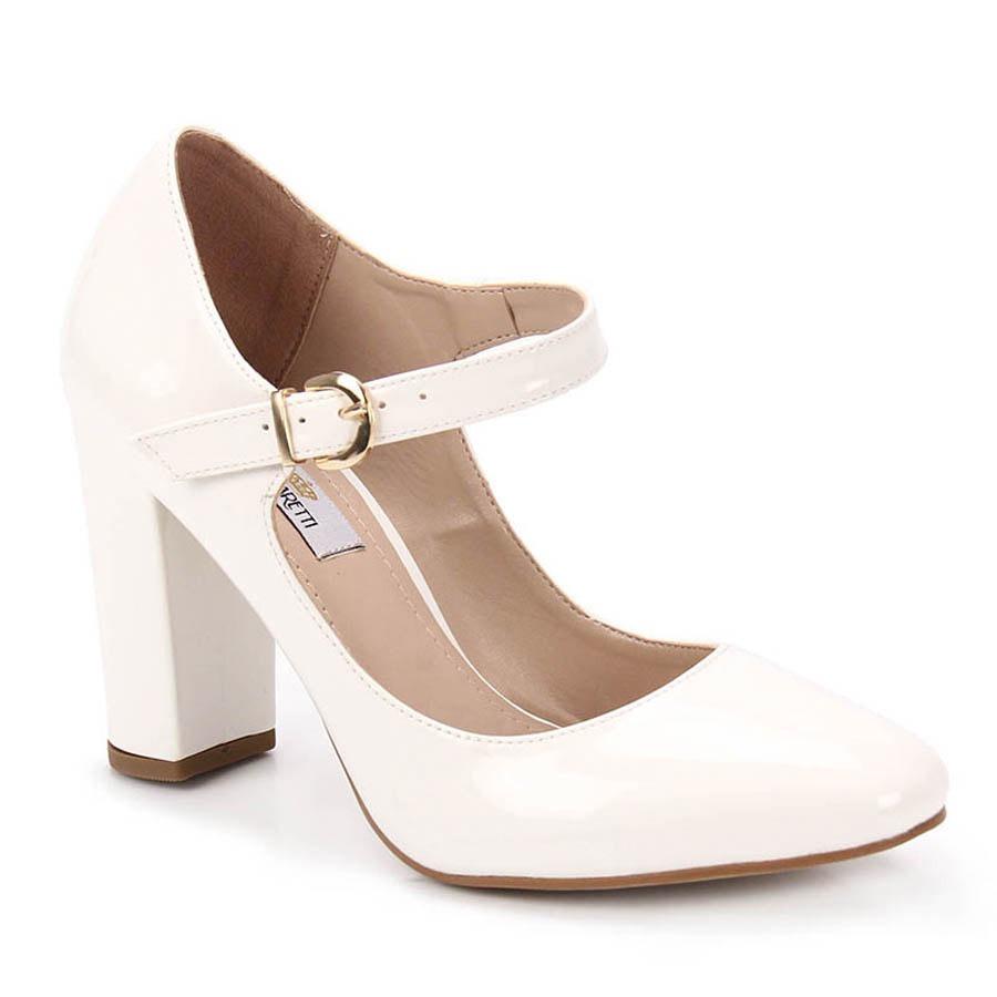 5f8223aa9e sapato boneca salto feminino cesaretti - branco. Carregando zoom.