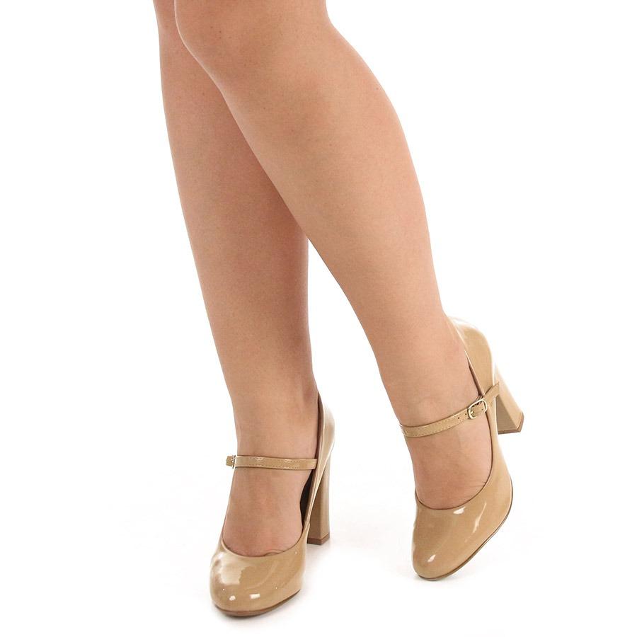 8b16ff1e89 sapato boneca salto feminino lara - nude. Carregando zoom.