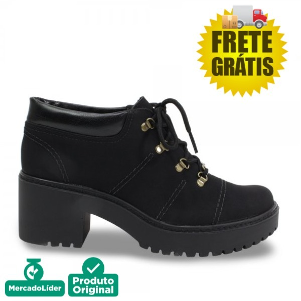 da9ead75b8 Sapato Bota Dakota Cano Curto Feminino Tratorada B9924 Preta - R  199