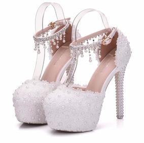cb8d3b0bd7 Sapato Com Cristais Customizados Peep Toe - Sapatos no Mercado Livre ...