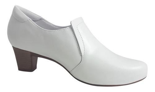 sapato branco enfermagem couro salto baixo neftali macio