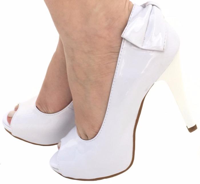 251eece5f Sapato Branco Laço Noiva Festa Meia Pata Salto 11 Alto 1461 - R$ 149 ...