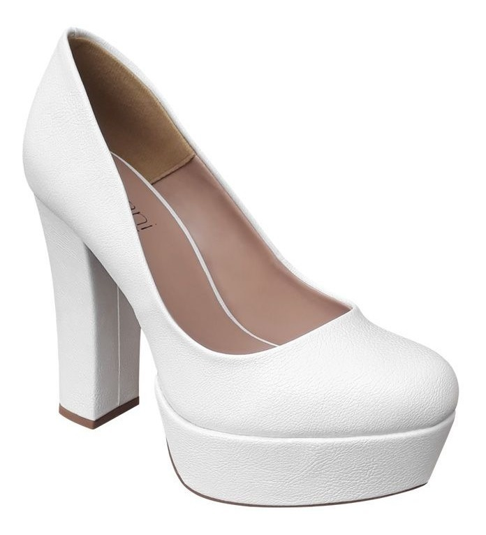 b59b0a6a7 Sapato Branco Noiva Boneca Meia Pata Salto Alto Grosso Festa - R ...