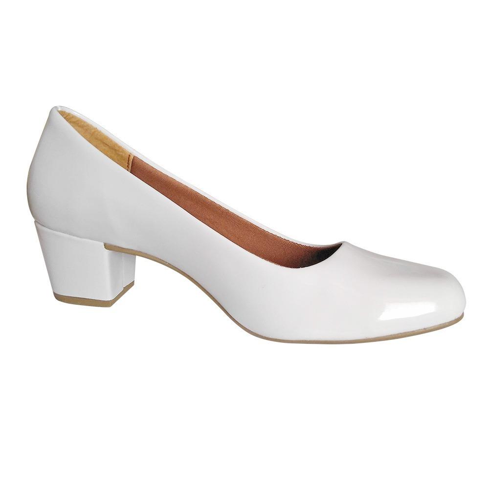 347bbfc60 sapato branco noiva enfermagem salto baixo grosso boneca. Carregando zoom.
