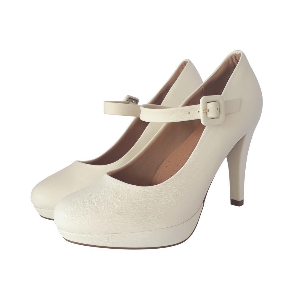 0cbb98ae7f sapato branco noiva meia pata salto alto grosso confort. Carregando zoom.
