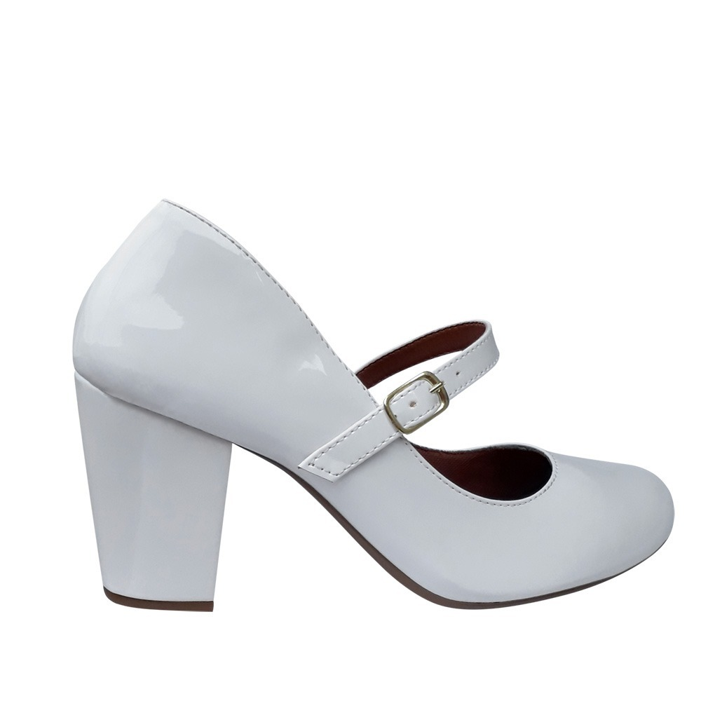 ffb7ddcdd sapato branco noiva modelo boneca salto alto grosso festa. Carregando zoom.
