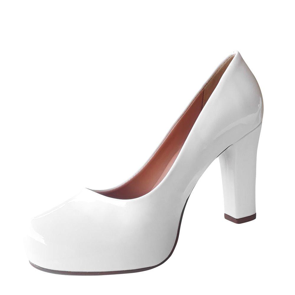 9f0f4aa7d sapato branco scarpin noiva salto alto medio grosso. Carregando zoom.