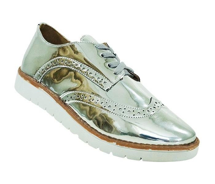 018af949b Sapato Brogue Feminino Metalizado Prata Frete Grátis - R$ 210,00 em ...