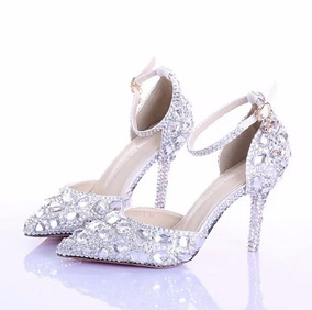 84e27ae585 Sapato Noiva Salto Cristal no Mercado Livre Brasil