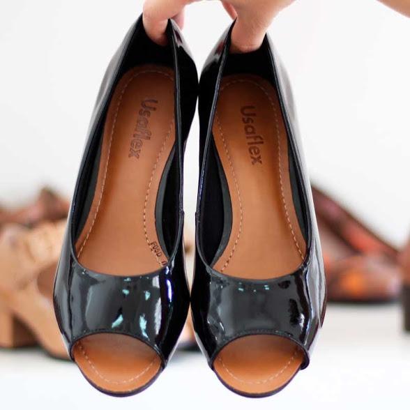 8dca6bb389 Sapato Confortável Usaflex Preto 5601 Melhor Preço! - R  220