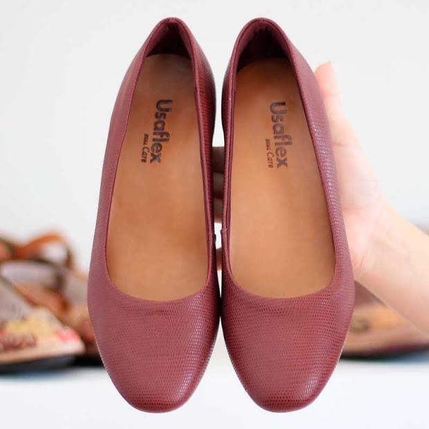 da10f227be Sapato Cor Vinho Usaflex Confortável 2601 Melhor Preço! - R  248