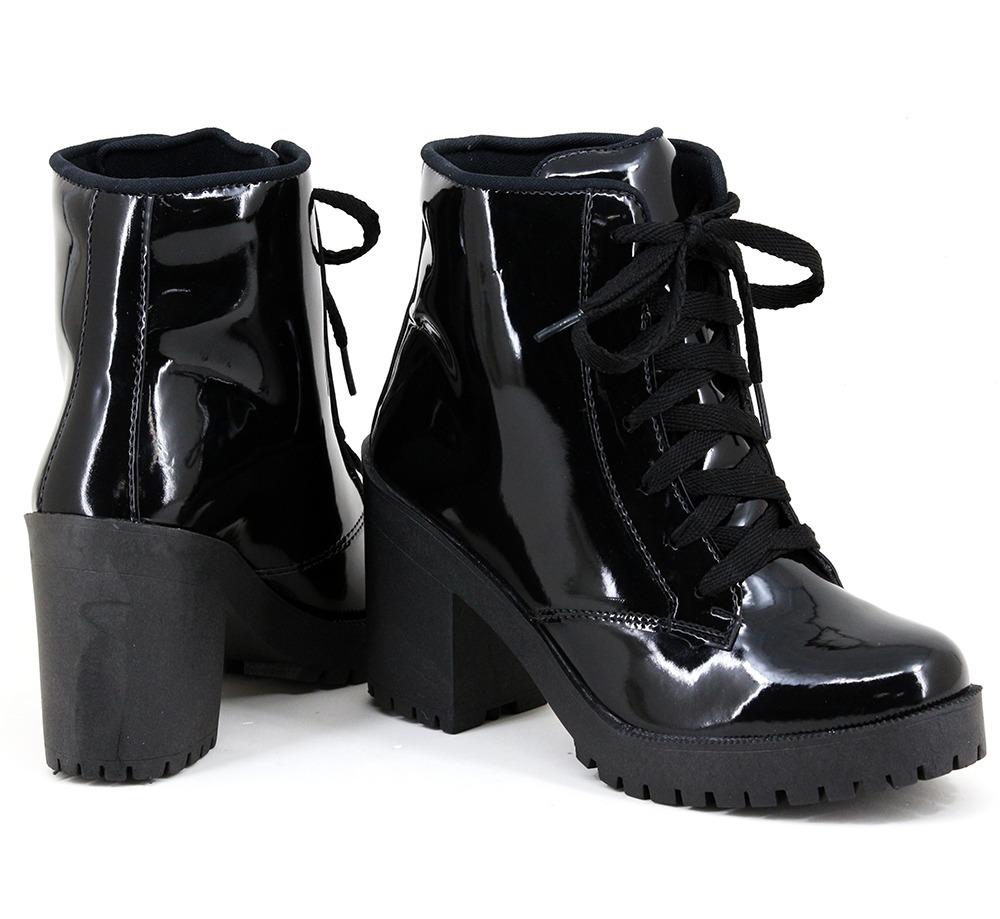 a7c47cd1dc Carregando zoom... 4 bota sapato feminina salto grosso tratorado coturno  rock pop