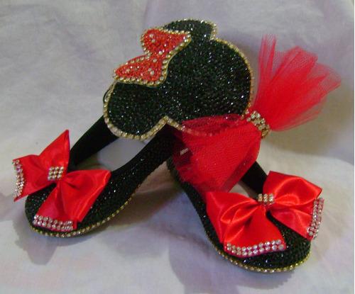 sapato customizado com cristais e tiara ou faixa da minnie