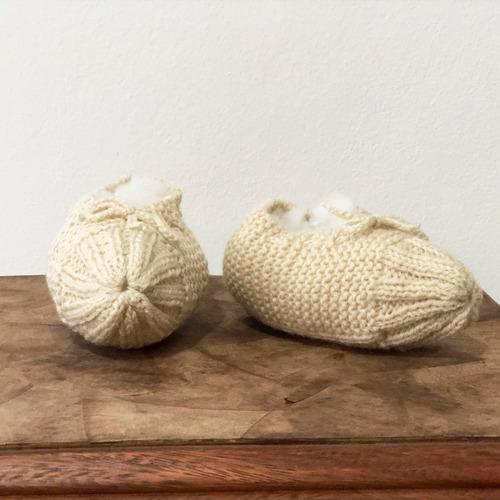 sapato de lã de adulto de tricô nude - tamanho 34 a 38