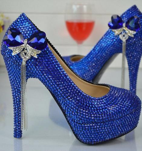 sapato de noiva azul strass casamento scarpin salto 11cm