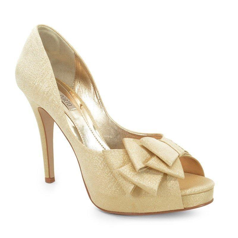 c75bb6e0fd Sapato De Noiva Peep Toe Laura Porto - Dourado - Mh736 - R  371