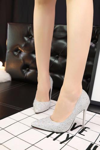 sapato de salto alto scarpin bright star - importados