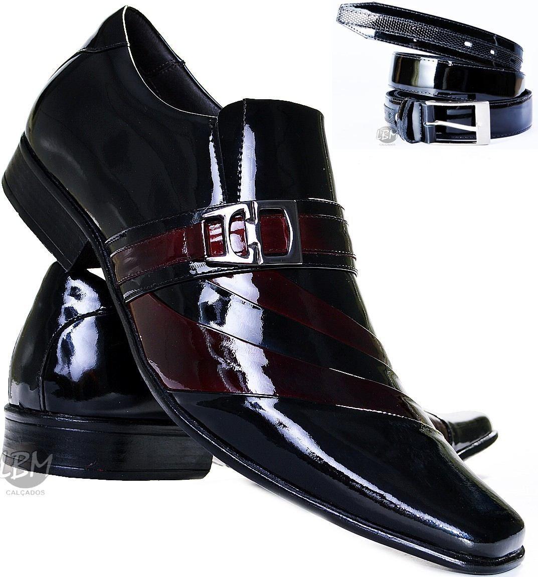 2243f4a63e sapato de verniz com cinto social masculino couro legitimo. Carregando zoom.