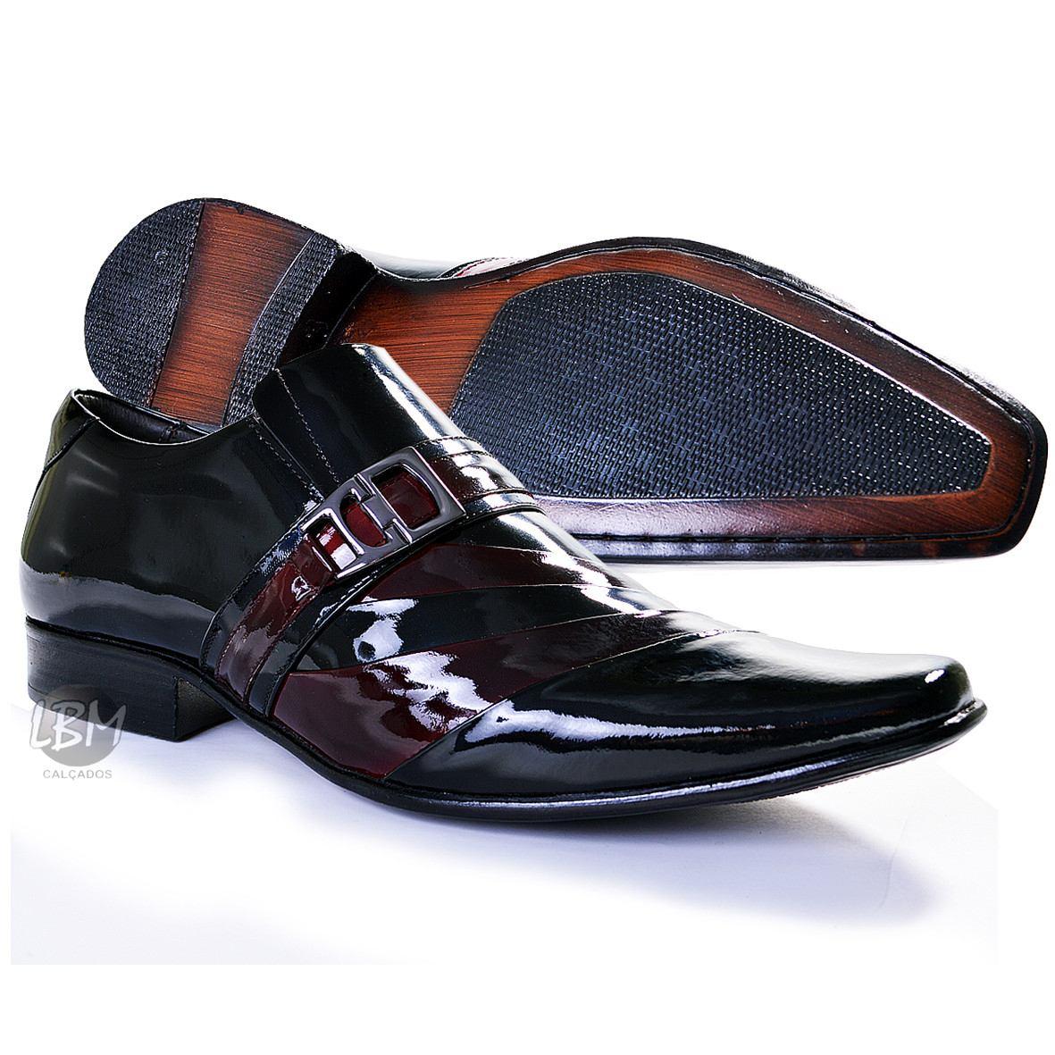 cf896fbc00 Sapato De Verniz Com Cinto Social Masculino Couro Legitimo - R$ 209 ...