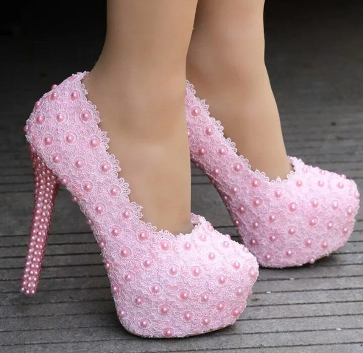33e669e31 Sapato Debutante Rosa Festa Perola Personalizado Renda - R$ 299,00 ...