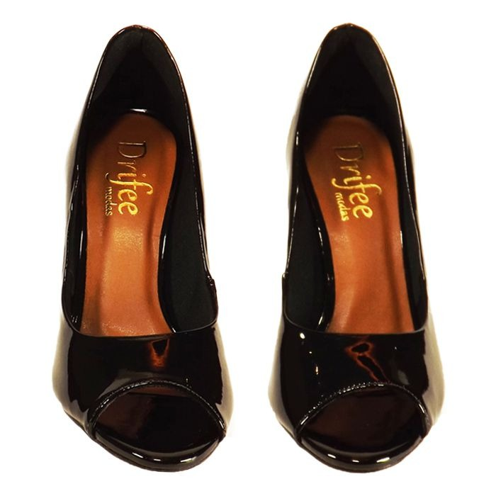842c147d8 Sapato Drifee Peep Toe Salto Médio Verniz Preto - R$ 116,44 em ...
