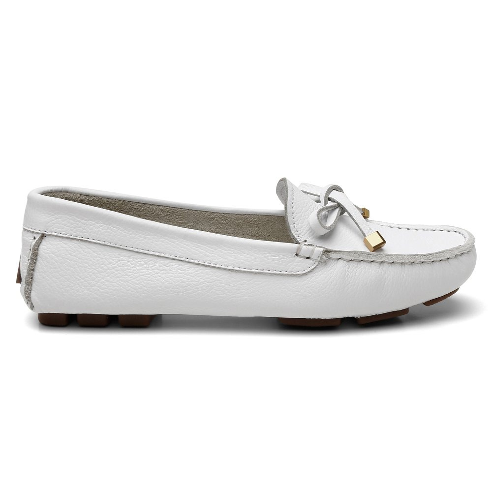 41e056e1d sapato feminino 100% couro mocassim costurado mão branco. Carregando zoom.