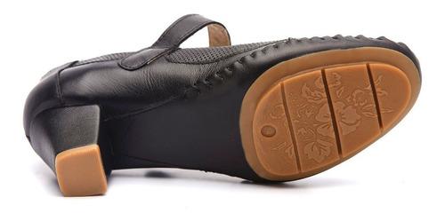 sapato feminino 789 em couro preto doctor shoes
