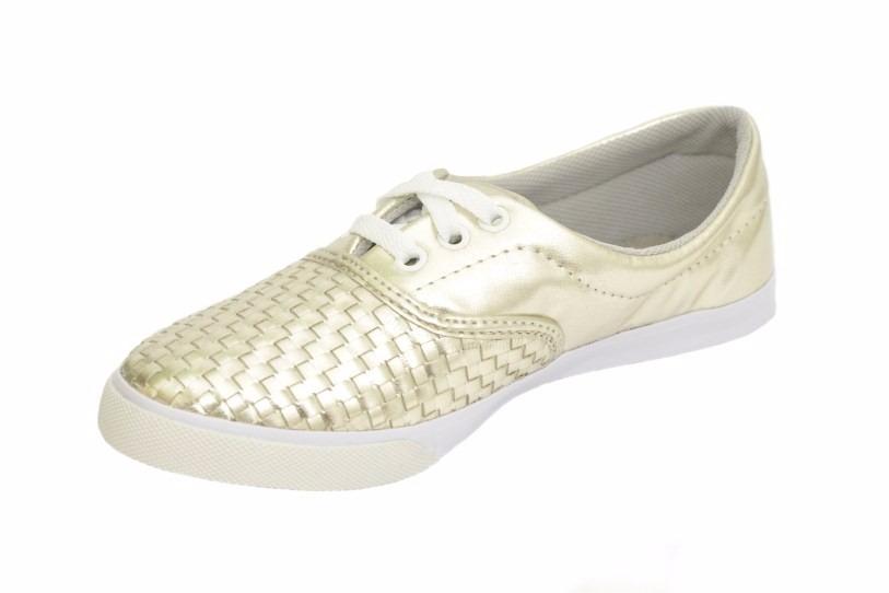 f07a71414 Sapato Feminino Alpargata Com Cadarço Tresset Dourada - R  79