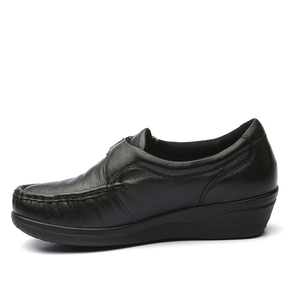 286cfb4496 sapato feminino anabela 183 em couro preto doctor shoes. Carregando zoom.