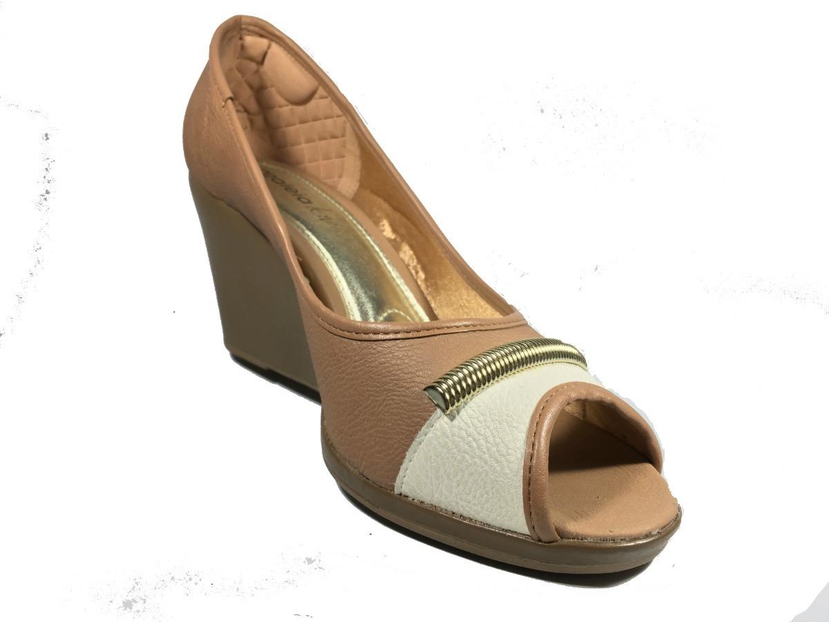 1edb80d0a sapato feminino anabela peep toe azaleia lev marrom bege. Carregando zoom.