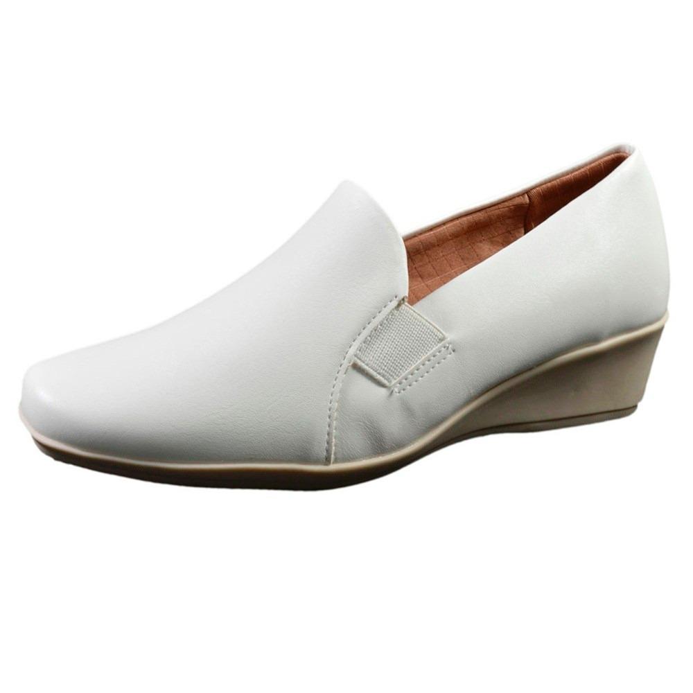 7f4debfa3 Sapato Feminino Branco Salto Anabela Enfermagem Piccadilly - R$ 120 ...