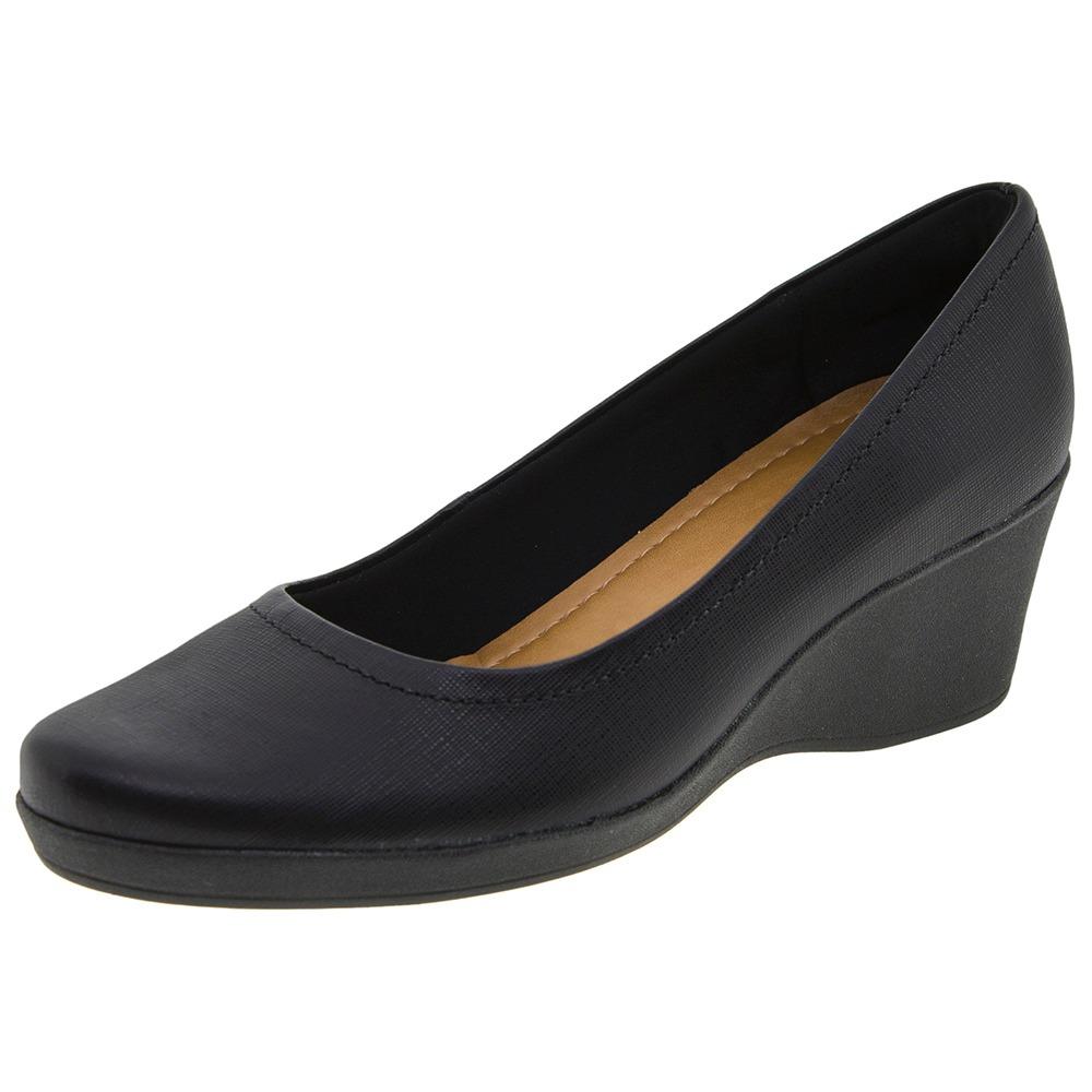 ceefe2938 sapato feminino anabela preto/croco usaflex - w2701. Carregando zoom.