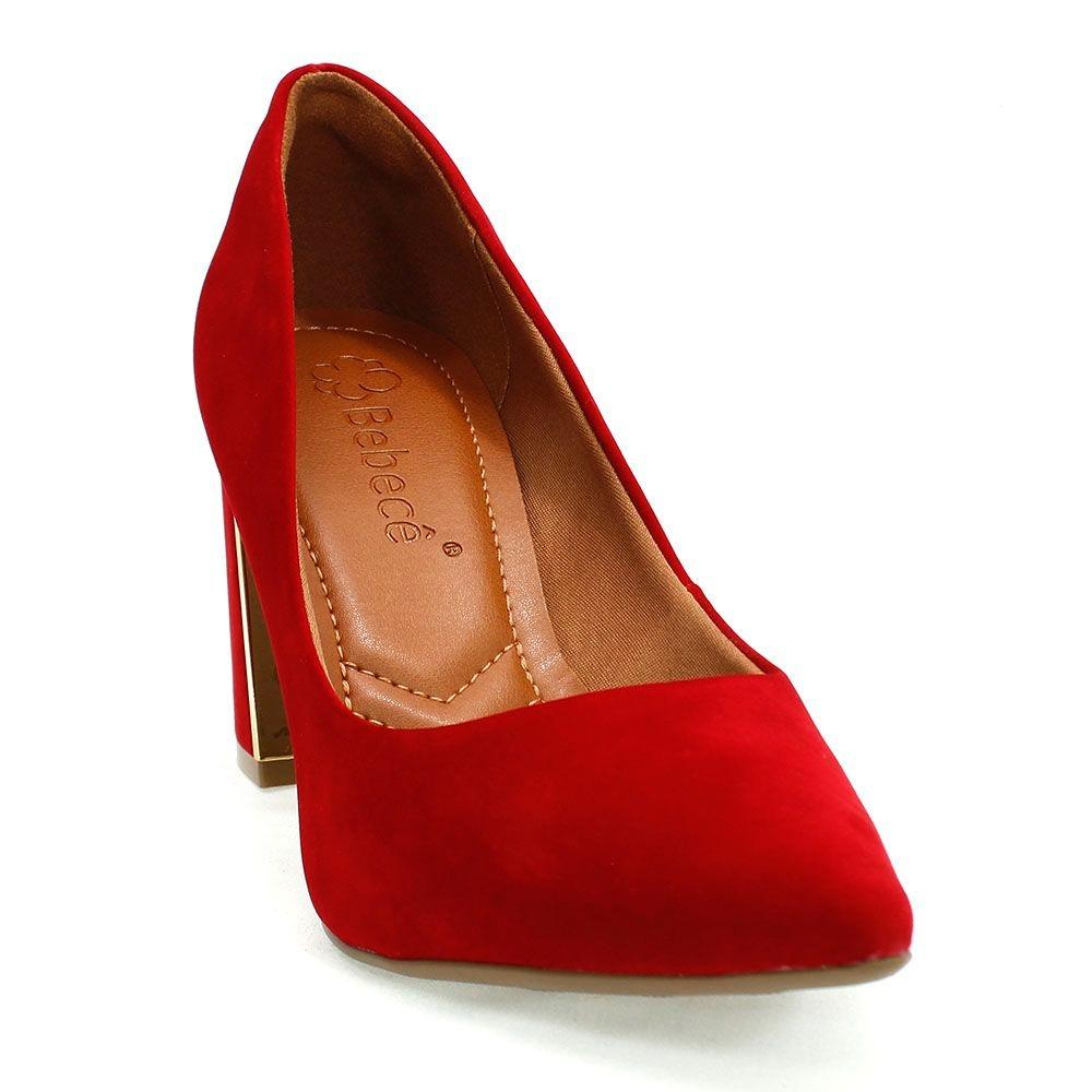87184c3b9c sapato feminino bico fino vermelho bebecê. Carregando zoom.