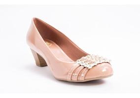 0d0d49b27 Blush De Couro E Verniz Shoestock Peep Toe Nude - Calçados, Roupas e ...