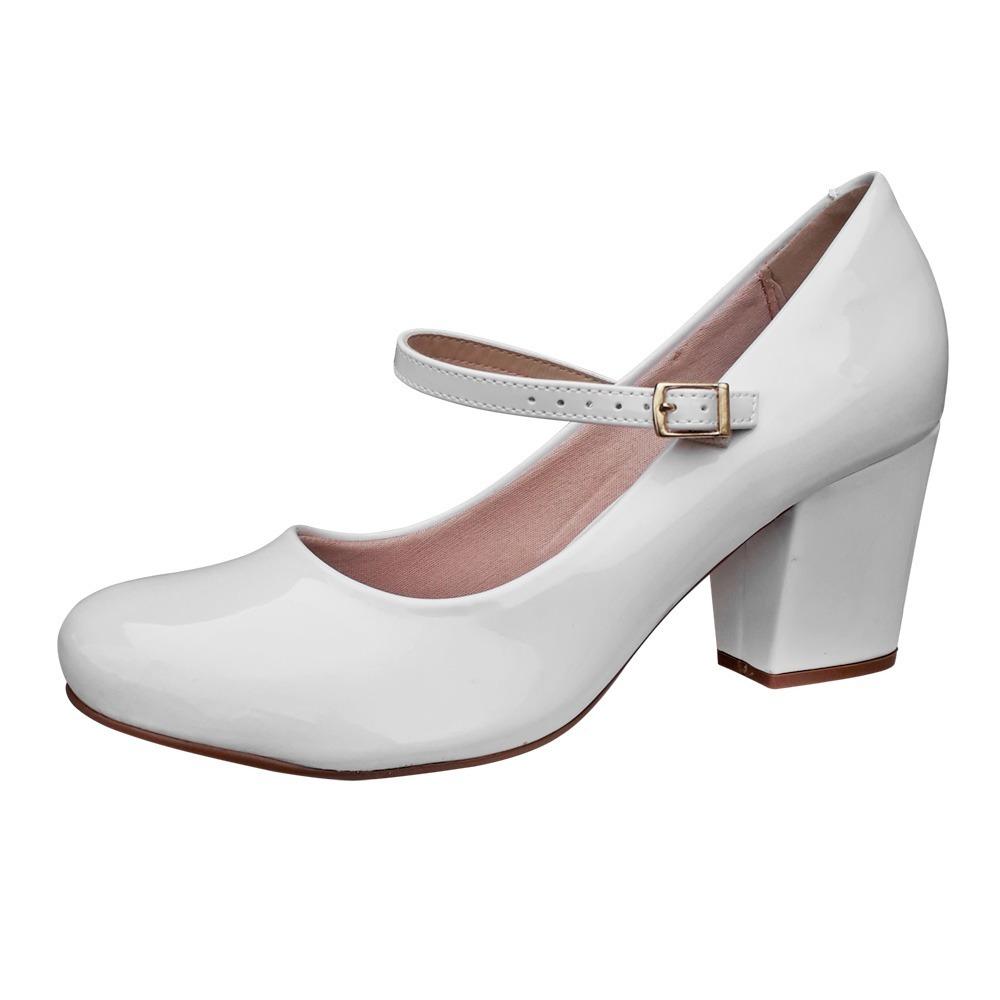 9d1ae9c4b7 sapato feminino boneca branco noiva salto medio frete gratis. Carregando  zoom.