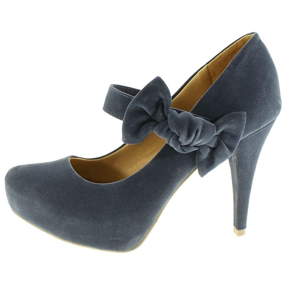939f7db155 sapato feminino boneca salto marinho meia pata laço estiloso. Carregando  zoom.